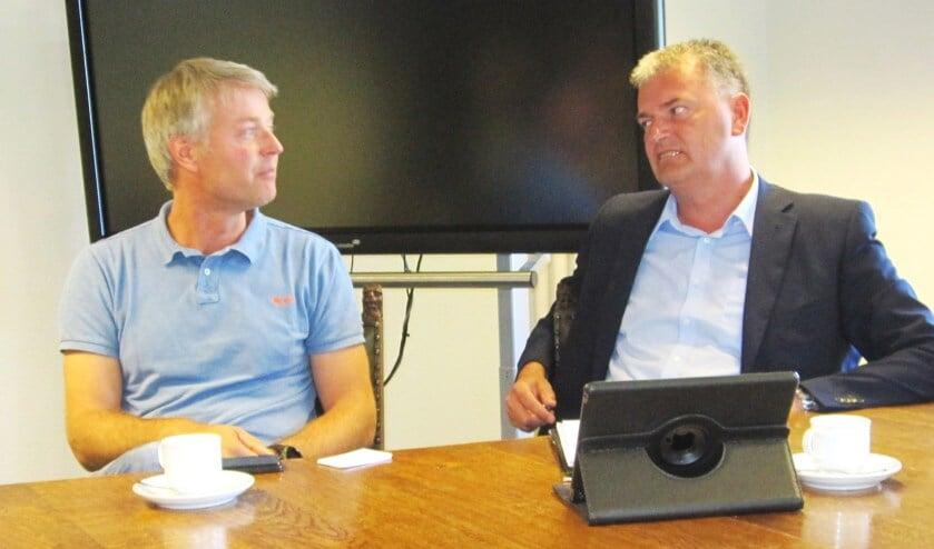 Jacquo Harbers van AGEM (links) en Ruud Krabbenborg van Zieuwents Belang (rechts).