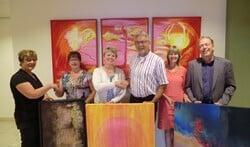 Gerry Kastein, Inge Aalbers, Wilma Ratering, Jan Olthof, Wilma Koolstra en Jelle Hoogeveen. Foto: Walter Hobelman