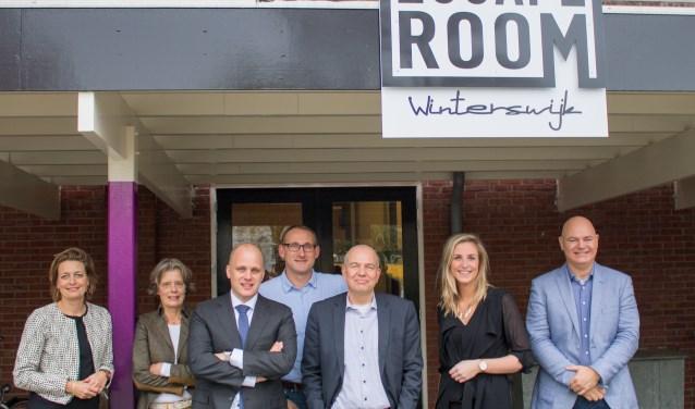 Van links naar rechts: Ilse Saris, Marry Keur, Joris Bengevoord, Gert-Jan te Gronde, Wim Aalderink, Lisanne Halleriet en Rik Gommers. Foto: Bram Beckmans