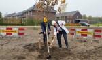 Wethouder Spekschoor (met witte helm) plant laatste boom in wijk De Kwekerij. Foto: Luuk Stam