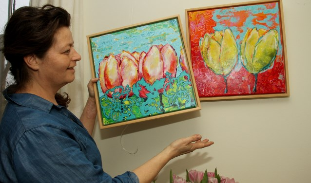 Sigrid Verbruggen exposeert ook kleurrijke tulpen. Foto: Liesbeth Spaansen