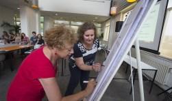 Laborijn-directeur Betty Talstra (in rood) en Buurtplein-directeur Rosemarie Ampting ondertekenen de samenwerkingsovereenkomst, waarmee in de gemeente Doetinchem een volgende stap is gezet op weg naar één krachtig sociaal domein. Foto: PR/Theo Kock