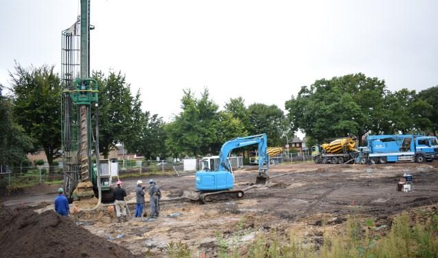 De eerste palen van De Zonnekamp worden geboord. Foto: Jeroen Garritsen