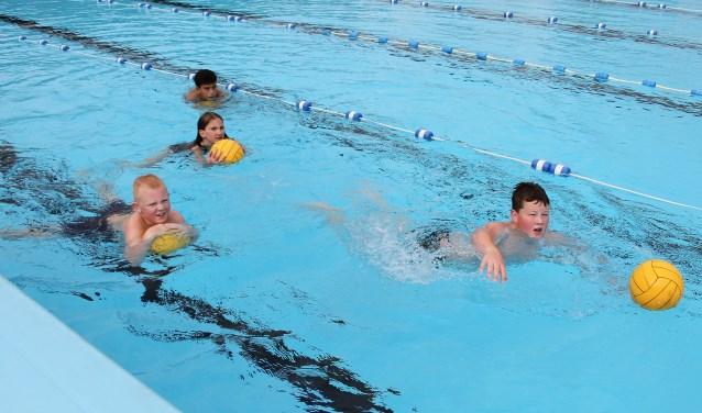 Michel, Ali, Evelien en Rémon laten hun zwemvaardigheid zien. Foto: Liesbeth Spaansen