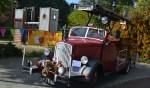 Er was een oldtimer brandweerauto in de speeltuin. Foto: Jaime Lebbink