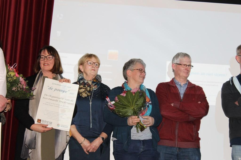 Ook de organisatoren van de Kerstmarkt Bredevoort waren genomineerd voor De Pompe.  Foto: Leo van der Linde  © Achterhoek Nieuws b.v.