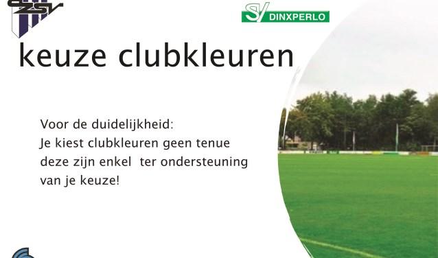 Nu moet er gekozen worden voor de clubkleuren, dus niet voor een tenue of logo. Foto: PR