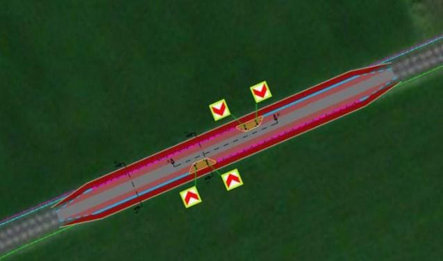 Op de Vordenseweg zullen op grondgebied van de gemeente Lochem twee chicanes geplaatst worden. Foto: gemeente Lochem