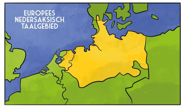 Het Nedersaksisch taalgebied. Illustratie: ToonWorkz