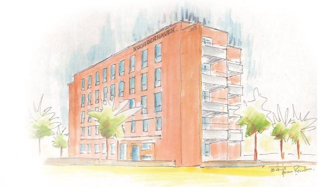 Tekening van het te bouwen appartementencomplex 't Reesink. Foto: PR