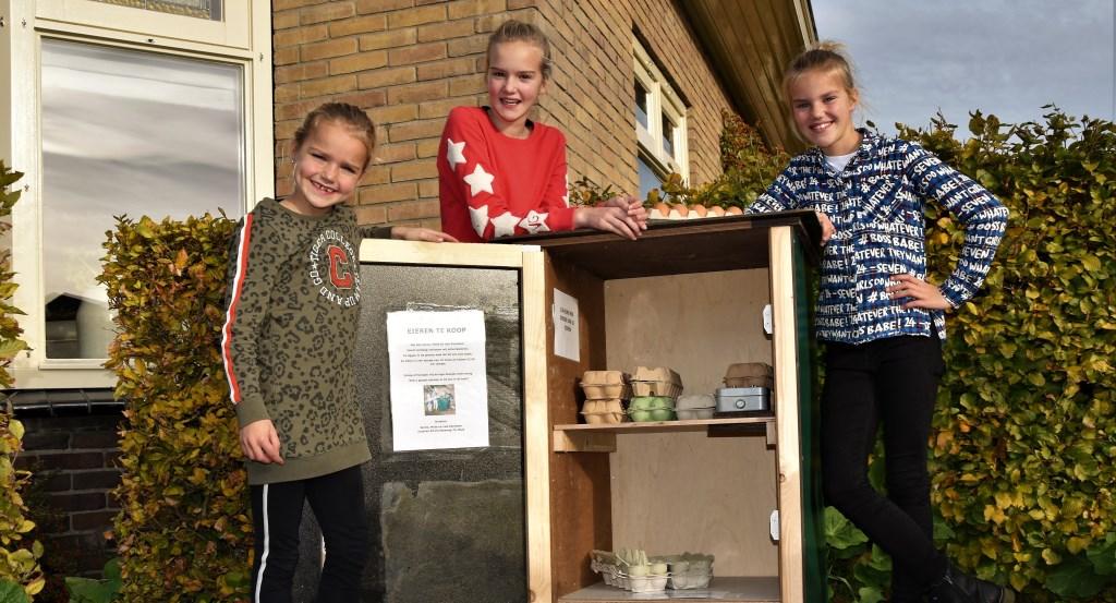In de groene kast zetten de gezusters Reindsen elke morgen de eieren klaar voor de verkoop. Foto: Alice Rouwhorst
