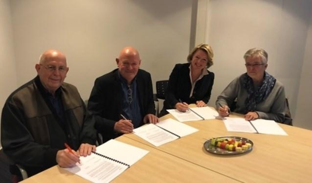Van links af Henry Timmermans, Henk Meulenkamp, Patricia Hoytink-Roubos en Nardy Cupers. Foto: PR