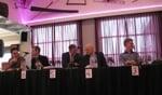 Van links naar rechts: Alexander de Graaff (D66), Johan Pennings (CU), Henk Meerdink (HMV), Martin Veldhuizen (VVD) en Gerrit Stronks (PP) zijn klaar om over hun partijen te vertellen. Foto: Bernhard Harfsterkamp