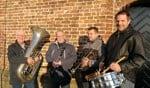 De 4 jubilarissen, Gerrit Klein Kranenbarg, Reinier Timmerije, Jeroen Rensink en Jesper Hiddink (vlnr). Foto: Rob Weeber