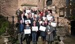 Vertegenwoordigers van de 14 projecten kregen 7 februari op Kasteel Vorden een cheque uitgereikt met het toegekende bedrag. Foto: Ingrid Sweers