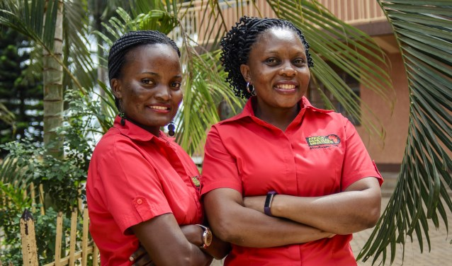 Jessica Nakazibwe (l) en Sarah Serunjogi. Foto: PR UCCF