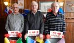 De jubilarissen v.l.n.r.: Jan Maalderink, Tienus Maalderink en Ab Waarle. Foto: PR
