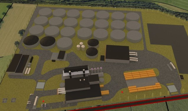 Een ontwerpschets van de fabriek. Illustratie: gemeente Oost Gelre