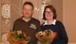 De kegelkampioen van Borculo in de A-poule: Edwin Nijhof  en Tosca Kruize. Foto: Femke Kruize