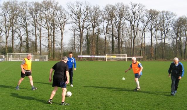De senioren die meedoen aan de demo walking voetbal, hebben zich vorige week onder leiding van Tom de Reus (blauw shirt) en Gijs ten Brinke voorbereid. Foto: Bart Kraan