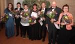 De jubilarissen op de foto  zijn van links naar rechts:  Karin Romeijnders, Christiaan Jolink, Ada Lubbers, Trudy Nijenhuis, Ap Roenhorst, Albert Menkveld en Henny Peelen. Foto: Eddy Jolink
