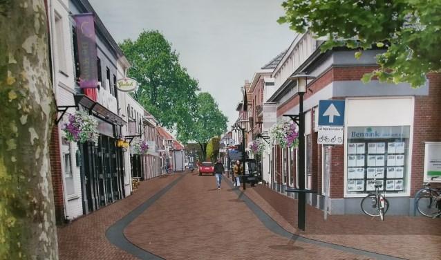3D weergave van de herinrichting Grotestraat tegenover De Klok. Illustratie: Sacon Architecten)