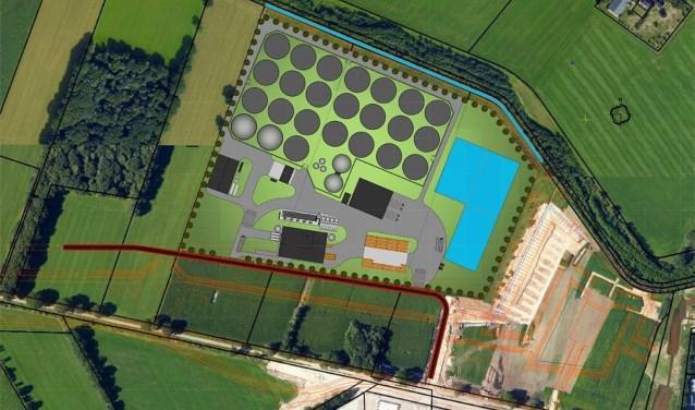 Het bovenaanzicht van het project, volgens de plannen.