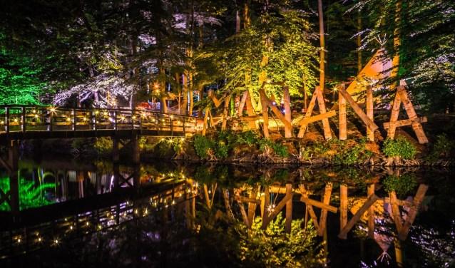 's Avonds is het terrein verlicht met honderden gekleurde lampjes. Foto: PR