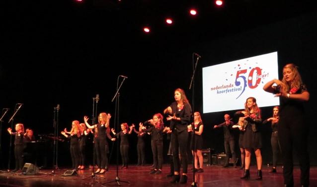 Vol overgave zongen de Nachtegalen zaterdag bij de finale van het Nederlands Koorfestival in Schouwburg Hengelo. Foto: Josée Gruwel