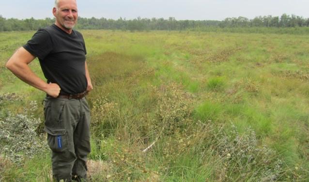 André Westendorp in het deel van de Meddoseveen waar berken zijn en worden verwijderd. Foto: Bernhard Harfsterkamp