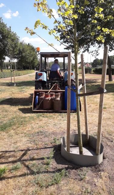 Twee keer in de week wordt driehonderd liter grondwater in melkbussen aangevoerd om de bomen van water te voorzien. Foto: PR.