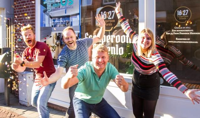 Vreugde bij de bouwers van de Escaperoom Groenlo. Foto: Marcel Houwer