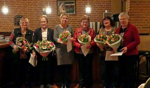 De jubilarissen van Vrouwen van Nu. Foto: Corry Lensink
