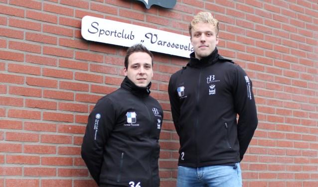 Het aanvoerders-duo Dave Ankersmit en Lucas Breukelaar van sc Varsseveld. Foto: John van der Kamp