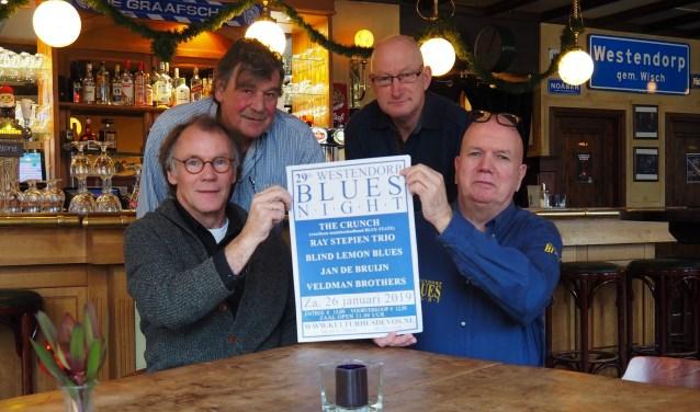 De organisatoren van de 29ste Westendorp Bluesnight (vlnr Henk Beunk, Han Nijman, Chris Snijders en Gert Lovink). Foto: PR