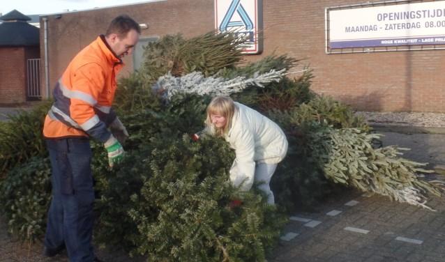 Ook individueel brachten kinderen de kerstbomen naar de Ruurlose inzamellocatie. Foto: Jan Hendriksen