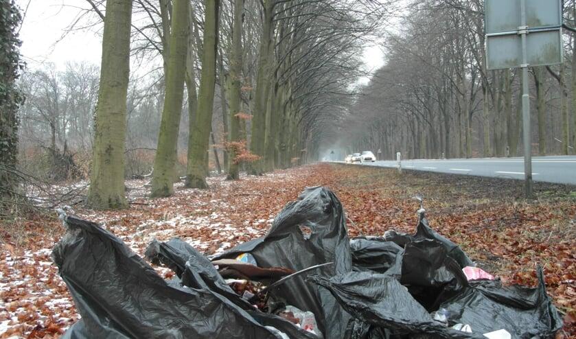De 'opbrengst' van het verzamelde zwerfvuil langs de Vordenseweg van vorige week. Foto: PR.