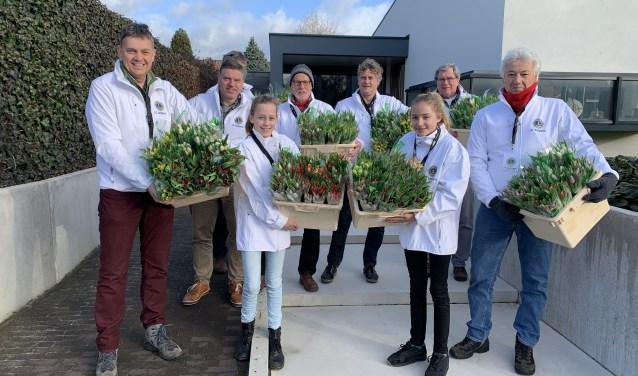 Iedere zaterdag in februari is de Lionsclub Zutphen actief met de tulpenverkoop. Foto: PR