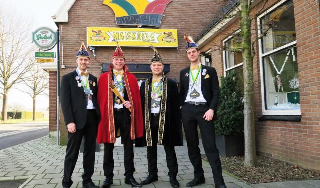 Vlnr. president Wout Tuinte, prins Eef Helmers, adjudant Freek Helmers en vorst Ruben Arink van CV De Maispotters uit Voor-Beltrum. Foto: Theo Huijskes