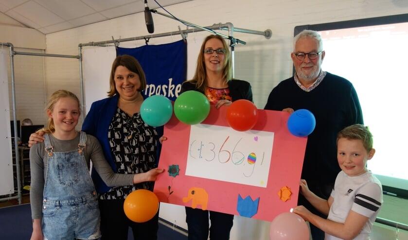 Myrthe, Fiona Algera (speelgoedbank), Ingrid Bravenboer (speelgoedbank) Chris Blaauboer (voedselbank) en Kiber. Foto: Clemens Bielen