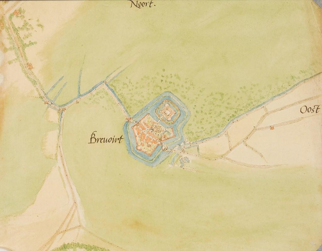 Een kaart van 'Brevoirt en omgeving', van Jacob van Deventer. Foto: Gelders Archief  © Achterhoek Nieuws b.v.