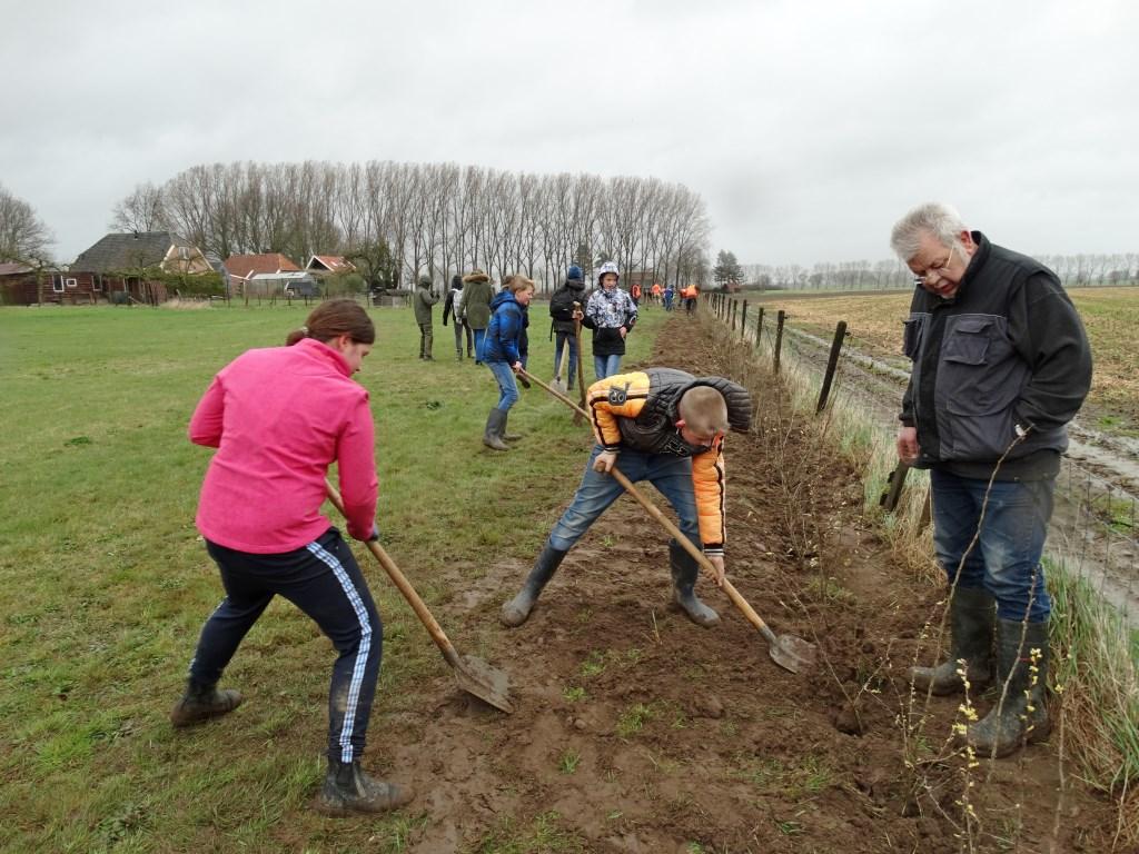 In de buurt van de Onderstraat in Bronkhorst werden honderden struiken geplant. Foto: Gerlinde Bulten  © Achterhoek Nieuws b.v.