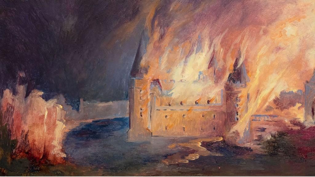 Het door brand verwoeste kasteel van Bredevoort, schilderij van Mineke Gravers. Foto: PR  © Achterhoek Nieuws b.v.