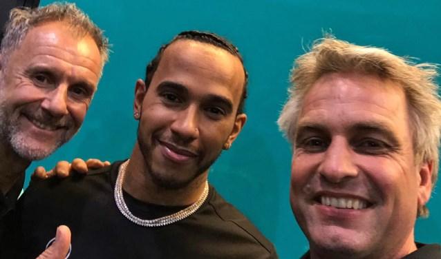 Wilco Zeelenberg, Lewis Hamilton en Torleif Hartelman. Foto: Hartelman