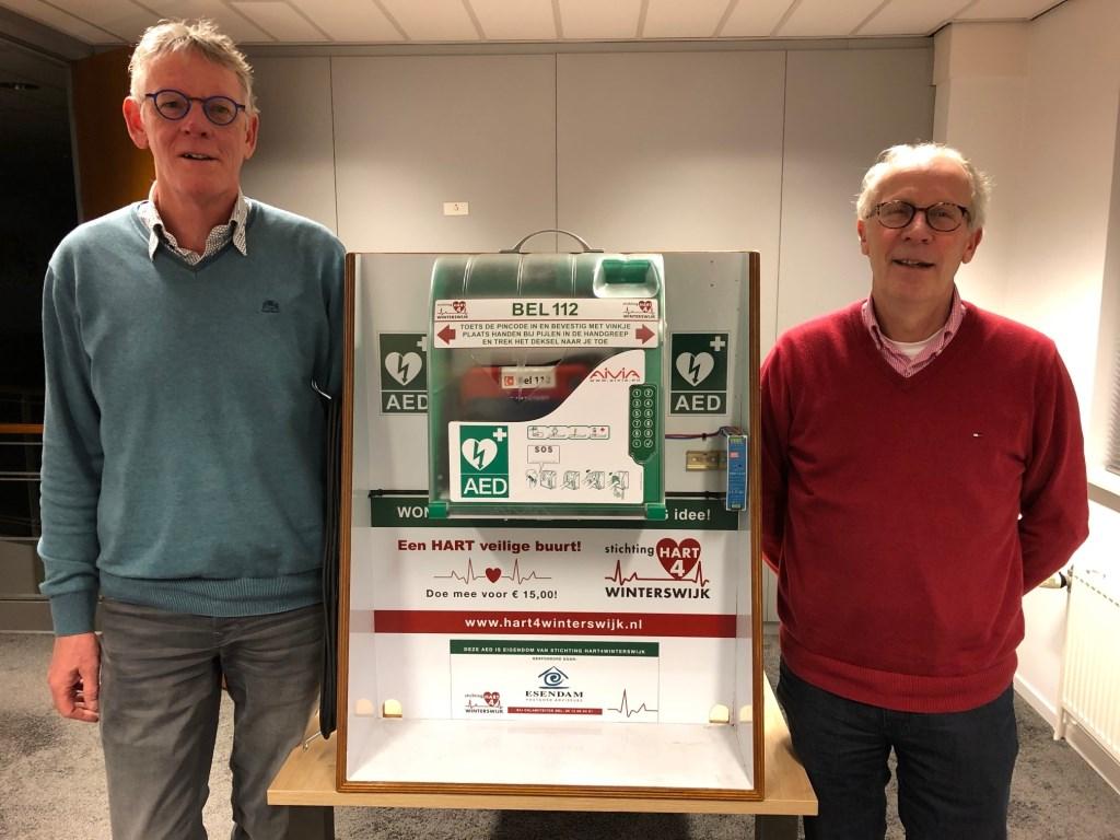 Hans Demkes (links) en Hans van der Meij bij de les demonstratie AED-kast. Foto: PR