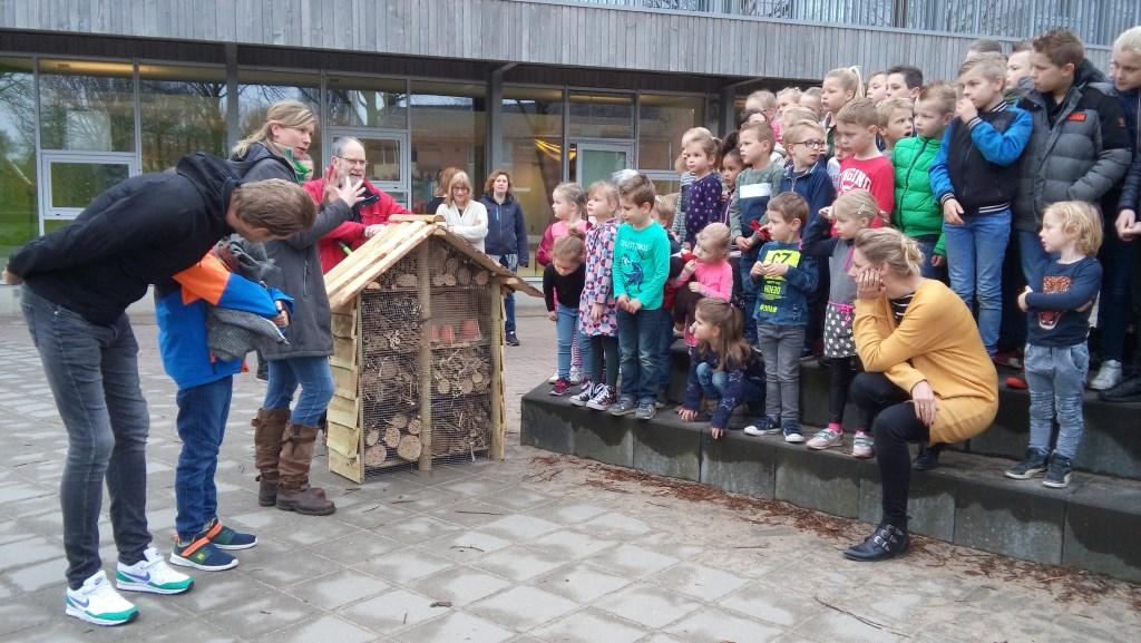 Leerlingen van de Piersonschool bekijken het insectenhotel gemaakt in park de Bleijke. Foto: Dinie Ruesink Foto:   © Achterhoek Nieuws b.v.