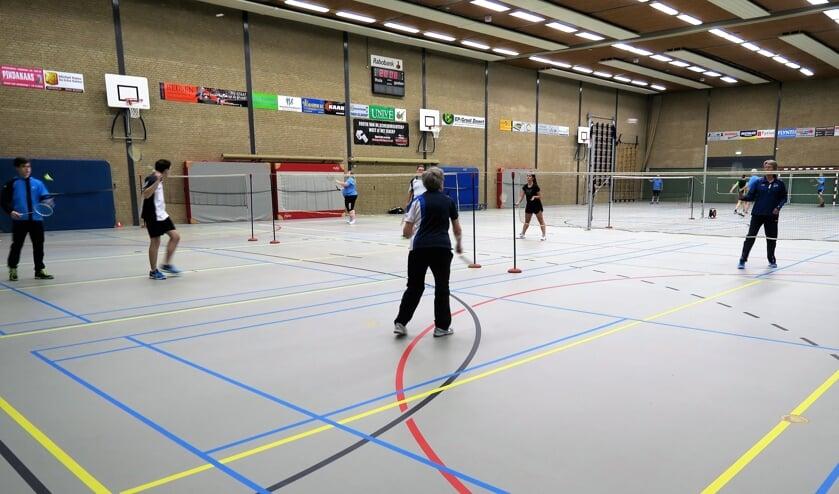 Leden van BV Grol volop actief in de sporthal Den Elshof. Foto: Theo Huijskes