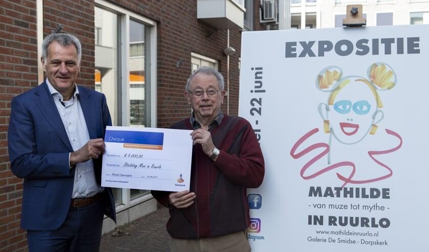 Laurens Stapelbroek van Rabobank Noord- en Oost-Achterhoek overhandigt een cheque ter waarde van vijfduizend euro aan Joop Huisman voor de deur van galerie De Smidse. Foto: PR