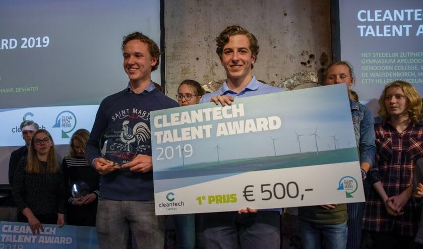Joep Ligthart en Flip van Tongeren van het Isendoorn College zijn de winnaars van de Talent Award 2019. Foto: PR