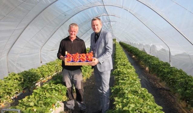 Bert Lensink en burgemeester Anton Stapelkamp met het eerste kistje aardbeien. Foto: Lydia ter Welle